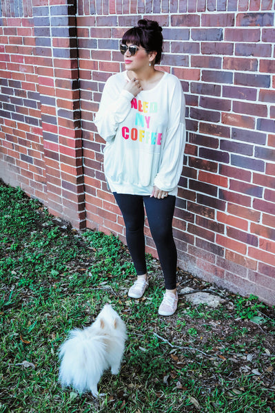 Need My Coffee Comfy Sweatshirt-Off White