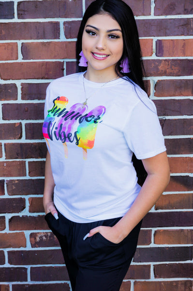 Fun and Flirty Summer Vibes Multi Colored Tee