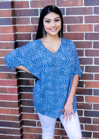 Lakeside Love Leopard Print Chambray Blue Top