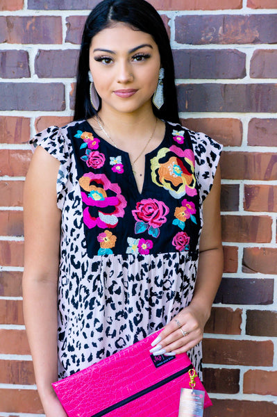 Isle of Capri Blossoms Embroidered Leopard Top