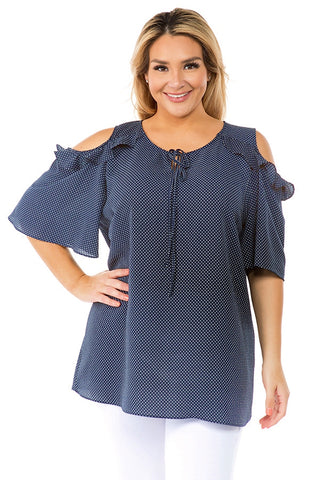Touch of Charm Navy Blue Cold Shoulder