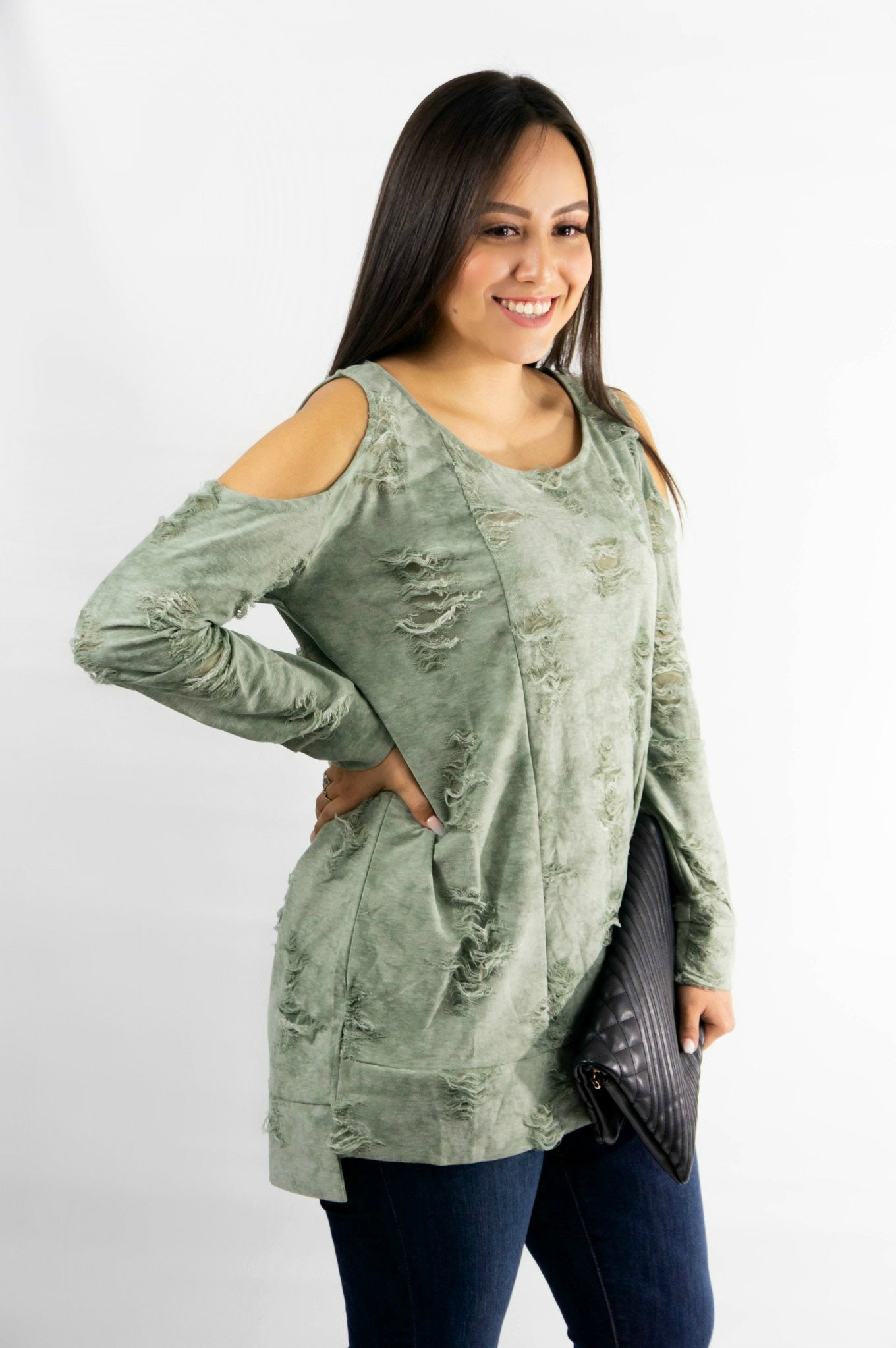 Distressed Faded Olive Cold Shoulder