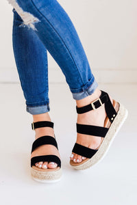 """The Lola"" Black Espadrille Sandals"