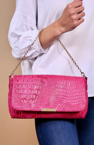 The Emma Snake Skin Crossbody-Hot Pink