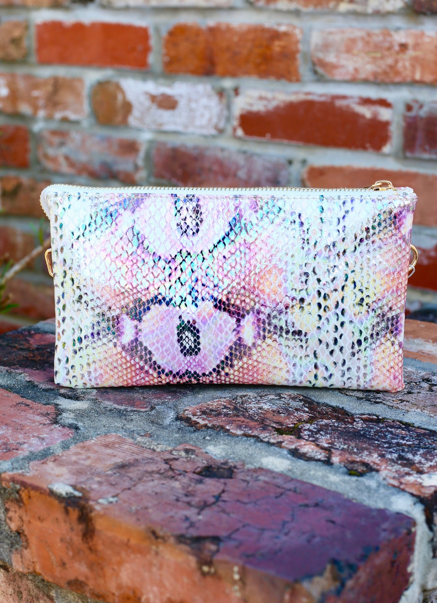 You've Got A Way Faux Snakeskin Crossbody Clutch- Pink Hologram