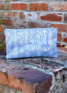 You've Got A Way Faux Snakeskin Crossbody Clutch-Shimmer Periwinkle