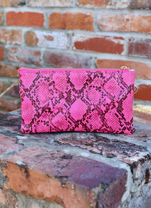 You've Got A Way Faux Snakeskin Crossbody Clutch- Neon Pink
