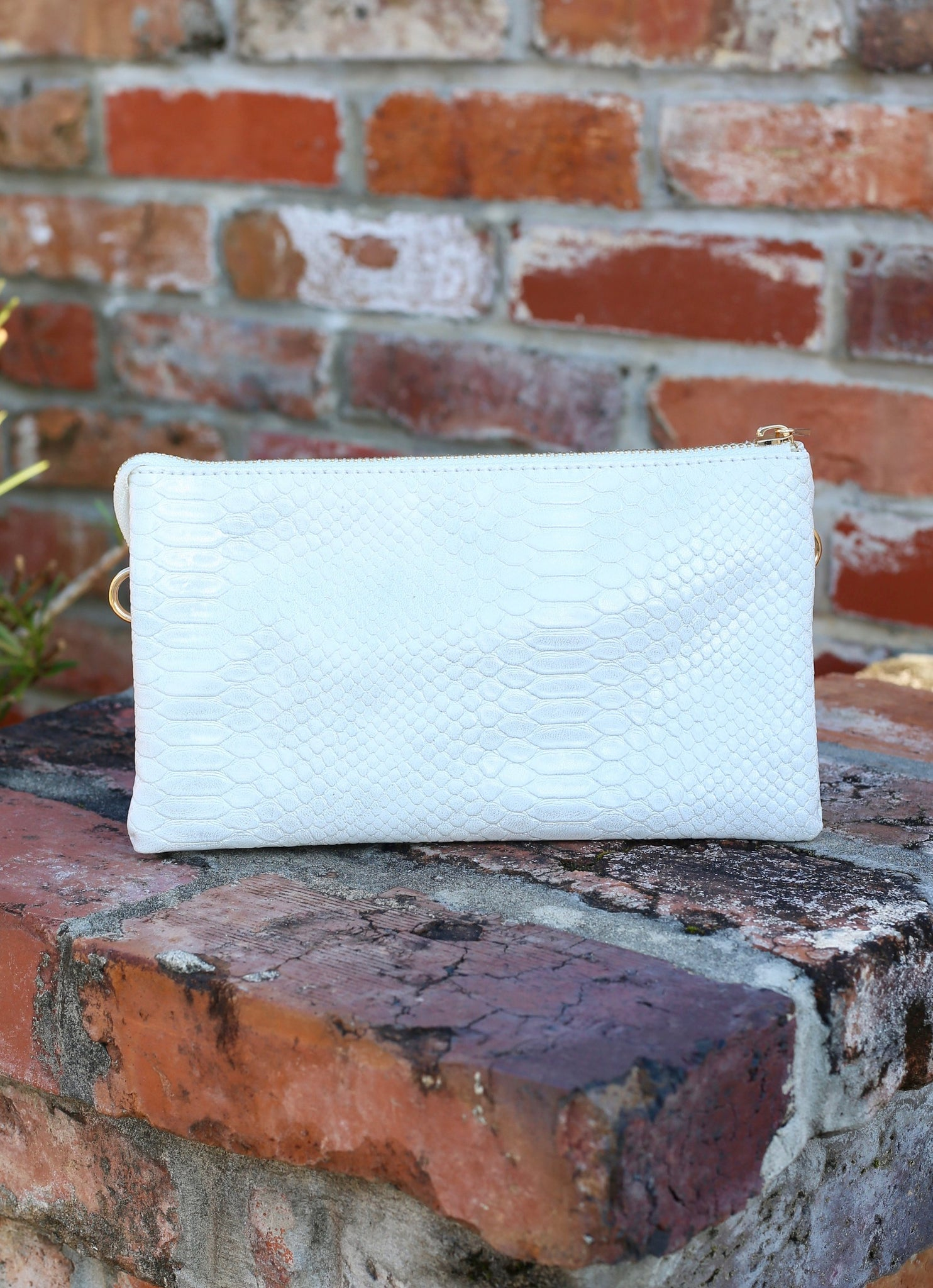 You've Got A Way Faux Snakeskin Crossbody Clutch- Shimmer Pearl White