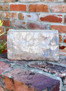 You've Got A Way Faux Snakeskin Crossbody Clutch- Beige Hologram