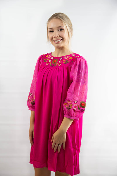 Perfect in Pink Floral Embroidered Dress