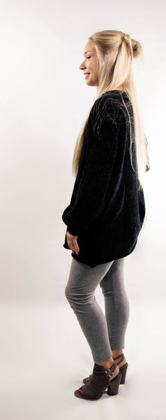 Black Chenille Boat Neck Sweater
