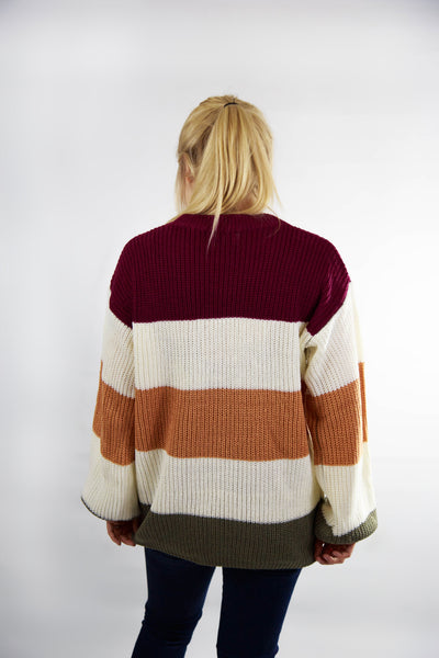 All for Comfort Burgundy Striped Knit Sweater