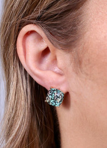 Piece of Paradise Stud Earrings-Aqua Leopard
