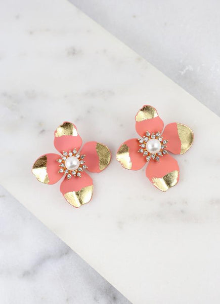 Seashore Suites Gold Dipped Petal Flower Earrings- Peach
