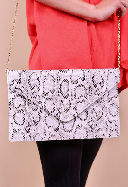 The Sophia Snake Skin Crossbody-Grey & White