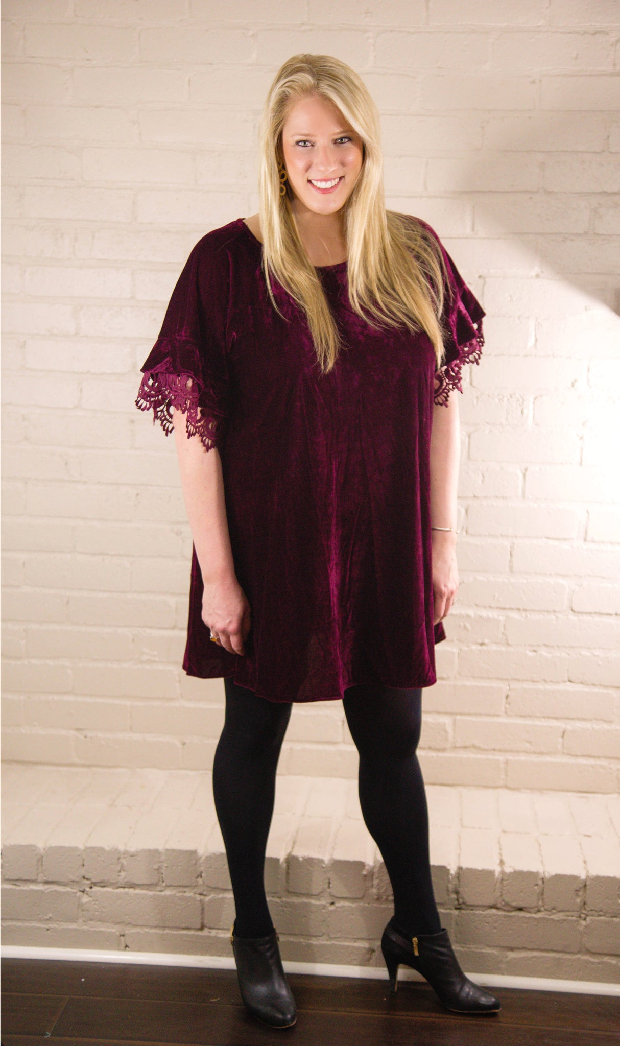 Yours Truly Maroon Velvet Dress