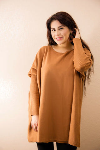Cinnamon Dolce Oversized Tunic Sweater