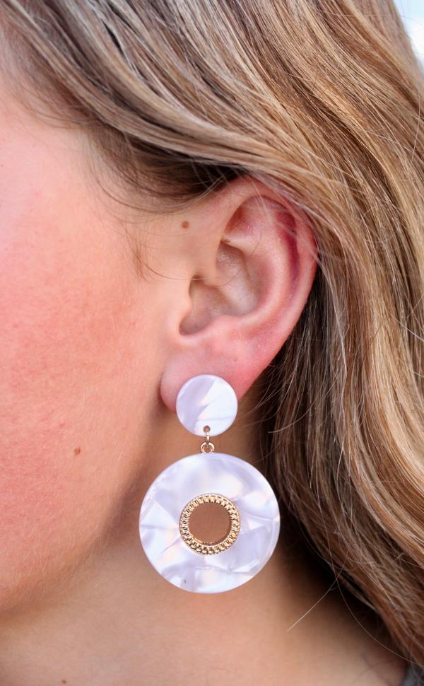 Shine On Resin White Round Earrings