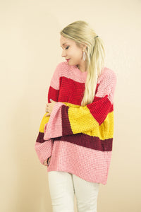 Crushin On You Striped Waffle Knit Sweater