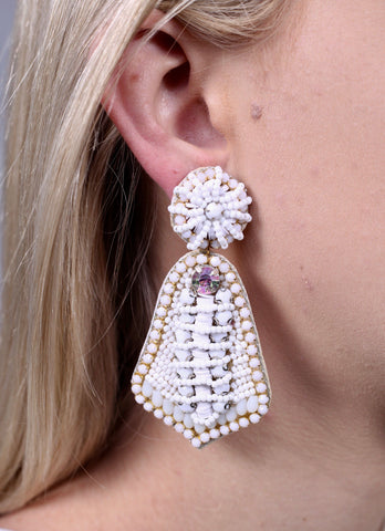 A True Vision Bead And Stone Embellished Earrings-White