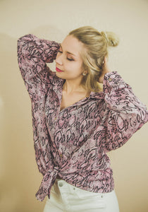Foxy & Few Snake Print Button Down Blouse
