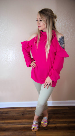 Late Summer Evenings Magenta Pink Cold Shoulder Top