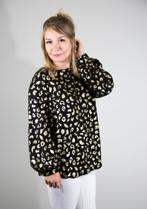 Divine Days of Fall Gold Leopard Waffle Knit Top