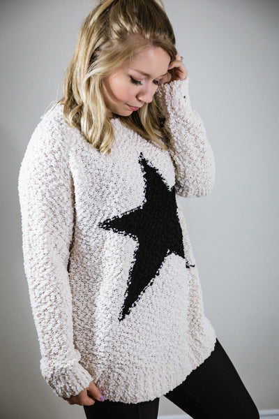 Baby You're A Star Popcorn Knit Sweater- Ivory