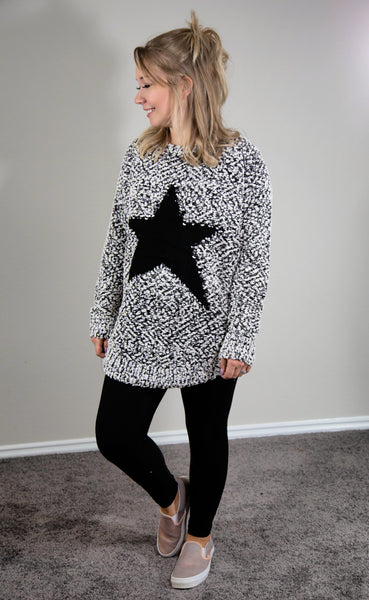 Baby You're A Star Popcorn Knit Sweater- Charcoal