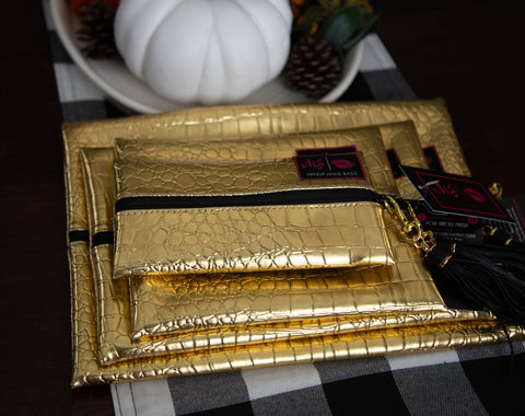 Gold Gate-r Makeup Junkie Bag