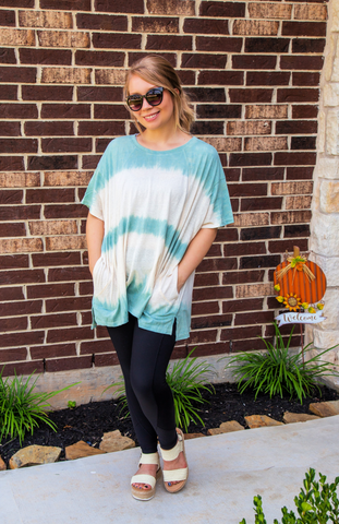 Sundays Spent At The Cafe Tie Dye Sage Top