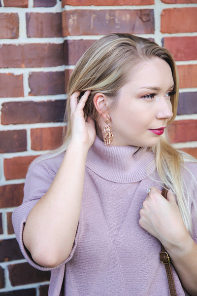 An Elegant Affair Beaded Drop Tassel Earrings