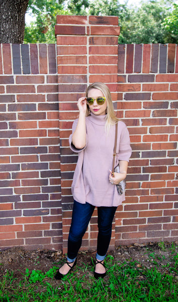 Anywhere She Goes Pullover Sweater Top-Dusty Rose