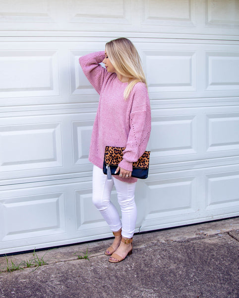 Rose Petals & Sweet Kisses Oversized Chenille Sweater-Mauve Pink