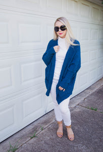 Weekend Slumber Cozy Popcorn Cardigan- Teal Blue