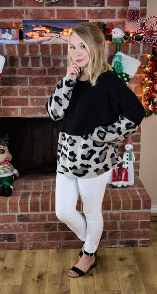Spotted Downtown Leopard Print Sweater