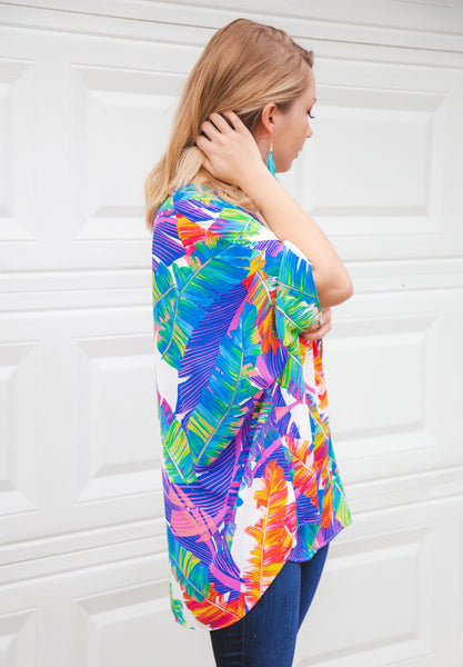 Paradise Awaits Palm Leaf Multi Print Tunic Top
