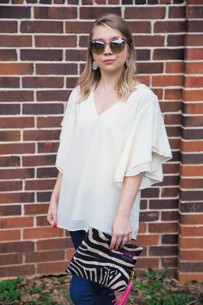 Dinner For Two Chiffon Shift Top- Off White