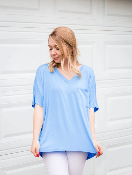 Make It Casual Sky Blue Pocket Tee