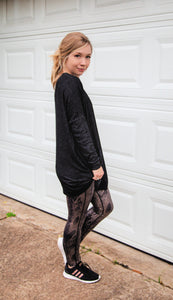 Iced Coffee Run Boxy Cut Charcoal Tunic