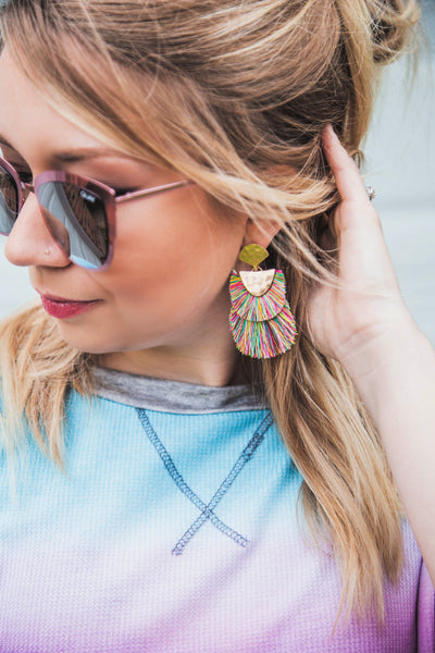 Meet Me On The Terrace Double Drop Fringe Earrings-Multi
