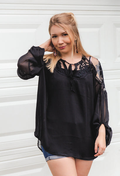 Stole Your Heart Black Lace Peasant Top