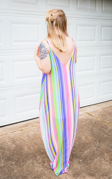 On The Beaches of Isla Verde Striped Maxi Dress