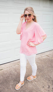 Dinner For Two Chiffon Shift Top- Ballerina Pink