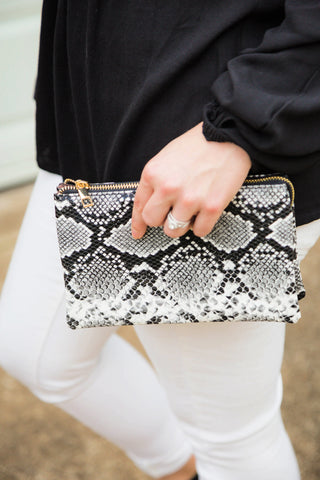 You've Got A Way Faux Snakeskin Crossbody Clutch