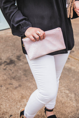 You've Got A Way Faux Snakeskin Crossbody Clutch- Pale Blush