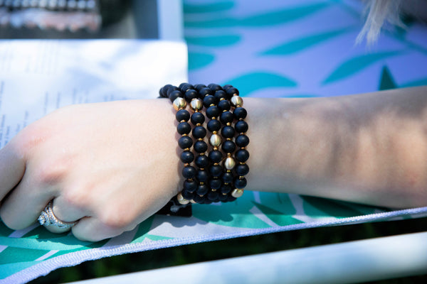 Summer Boho Set Of Five Wooden Bead Bracelets- Onyx