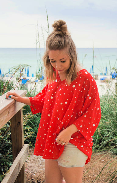 Stars On The Water Red Print Tunic Top