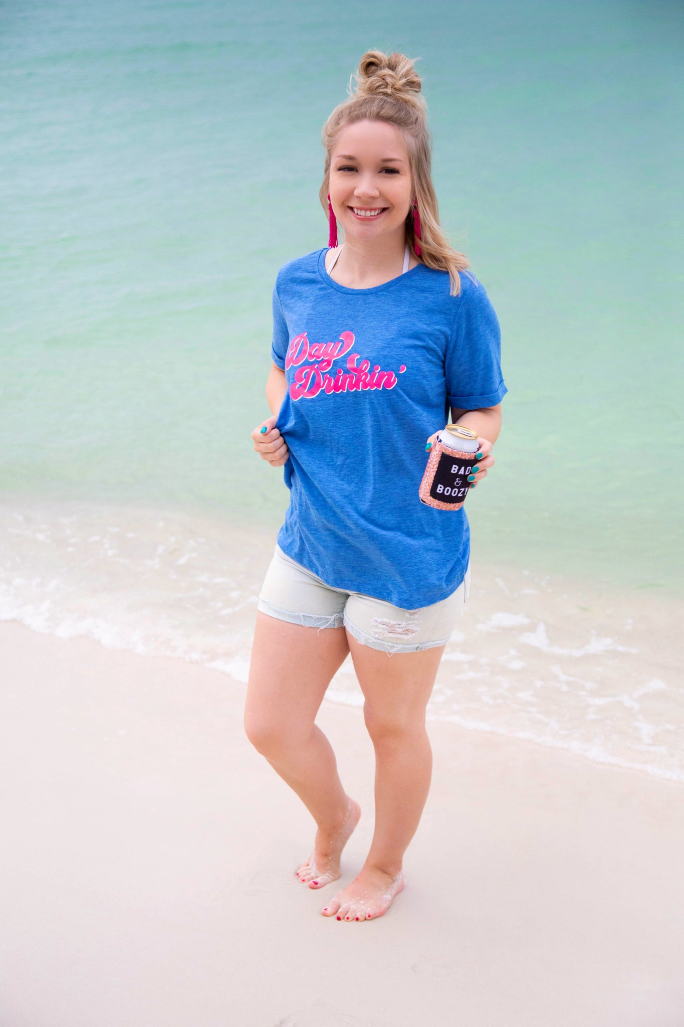 "It's 5 O'Clock Somewhere ""Day Drinking"" Tee-Chambray Blue"