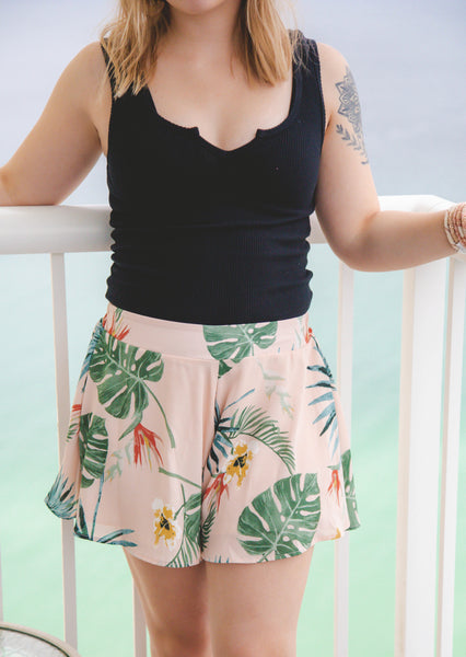 Aloha Babe Tropical Leaf Print Swing Shorts